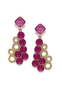 Pink & Gold-Toned Drop Earrings