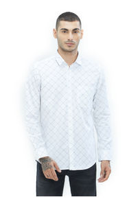Checkered White Color Cotton Slim Fit Shirt