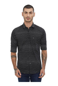 Striped Black Color Cotton Slim Fit Shirt