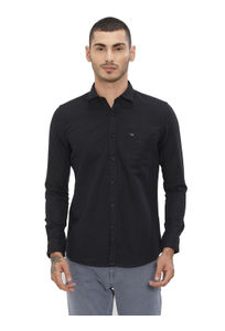 Solid Black Color Cotton Slim Fit Shirt