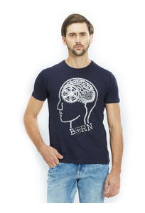 Printed Blue Color Cotton Slim Fit T-Shirt