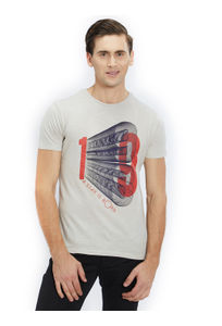 Printed Beige Color Cotton Slim Fit T-Shirt
