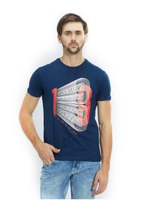 Printed Blue Color Cotton Slim Fit T-Shirt