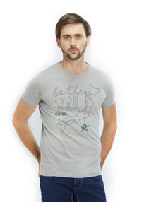 Printed Grey Color Cotton Slim Fit T-Shirt