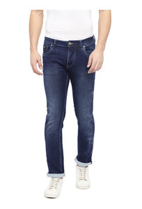 Solid Blue Color Cotton Slim Fit Jeans