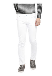 Solid White Color Cotton Skinny Fit Jeans
