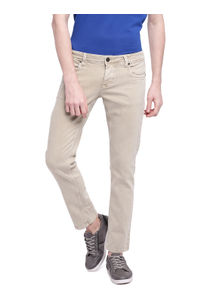 Solid Beige Color Cotton Skinny Fit Jeans
