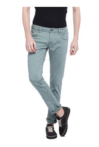 Solid Green Color Cotton Skinny Fit Jeans