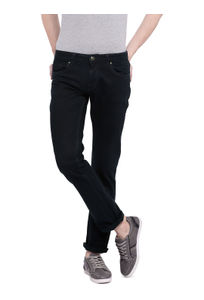 Solid Green Color Cotton Slim Fit Jeans