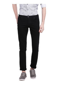 Solid Black Color Cotton Slim Fit Jeans