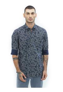 Printed Blue Color Cotton Slim Fit Shirt