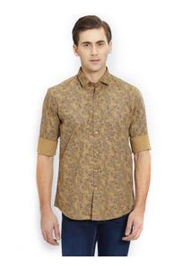 Printed Brown Color Cotton Slim Fit Shirt