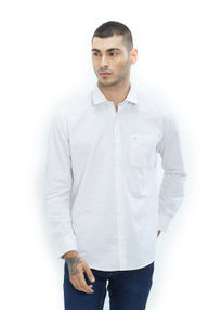 Solid White Color Cotton Slim Fit Shirt