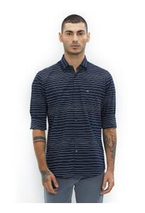 Striped Blue Color Cotton Slim Fit Shirt