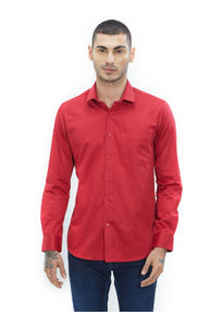 Solid Red Color Cotton Slim Fit Shirt