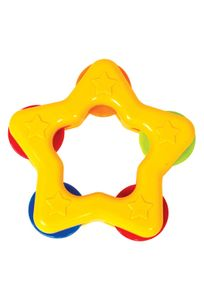 Mee Mee Star Shape Easy Grip Baby Rattle, Yellow (Pack of 2)