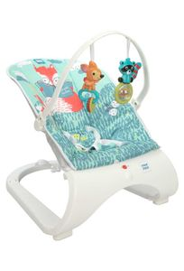 Mee Mee Easy to Bounce and Vibrating Deluxe Baby Bouncer, Forest Theme, Blue