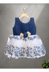Mee Mee Baby Frilly Party Frock –Navy & White