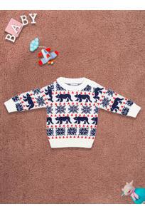 Mee Mee Full Sleeve Boys Sweater – Offwhite Printed