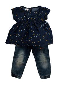 Mee Mee Girls Half Sleeve Star Printed Denim Top With Full Pant Set (Dark Blue)
