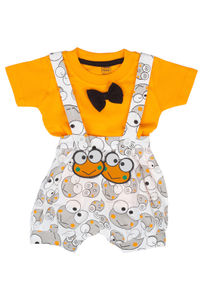 Mee Mee Short Sleeve Tee Frog Print Dungaree Set With Bow