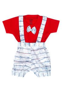 Mee Mee Short Sleeve Tee Printed Dungaree Set With Bow