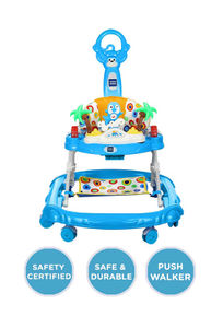 Mee Mee Simple Step Baby Walker With Push Handle, Foot Mat & Stopper (Blue)