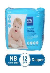 Mee Mee Premium Breathable Baby Diapers (Newborn - 12 Count)