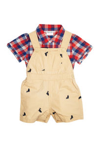 Mee Mee Baby Checks Shirt & Printed Dungaree Set – Red And Beige