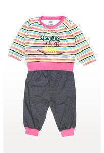 Multicolour Striped Leggings Set