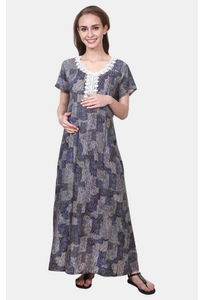 Mee Mee Grey and Blue Printed Maternity Gown