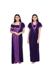 Secret Wish Women's Purple Satin Nighty