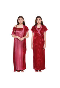 Secret Wish Women's Maroon Satin Nighty