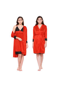 Secret Wish Women's Red Satin Nighty