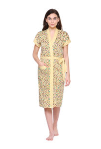 Secret Wish Women's Yellow Cotton Bathrobe