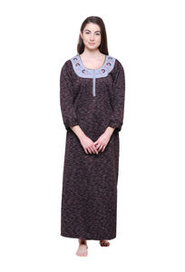 Secret Wish Women's Printed Maroon Woolen Nighty