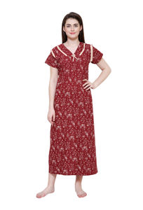Secret Wish Women's Maroon Cotton Printed Nightsuit XL,XXL
