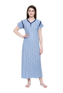 Secret Wish Women's Blue Cotton Printed Nightsuit XL,XXL