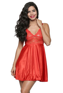 Secret Wish Women's Satin Orange Babydoll Dress (Free Size, BI-24-Orange-FS)