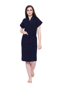 Secret Wish Women's Navy-Blue Towel Bathrobe