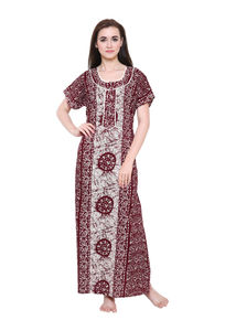 Secret Wish Women's Brown Cotton Nighty