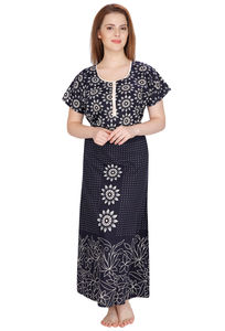 Secret Wish Women's Cotton Navy Blue Nighty (Navy Blue, Free Size)