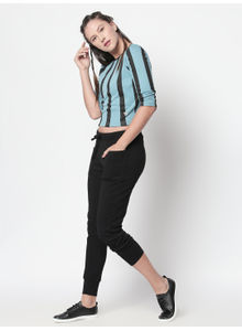 Disrupt Light Blue 3/4 Sleeve Cotton Lycra Blend Crop Top For Women'S