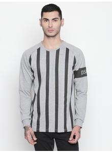 Disrupt Grey Melange Round Neck Full Sleeve T-shirt For Men