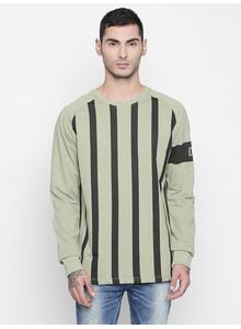 Disrupt Light Olive Round Neck Full Sleeve T-shirt For Men