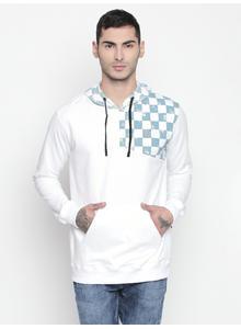Disrupt White Hooded Full Sleeve Pullover For Men