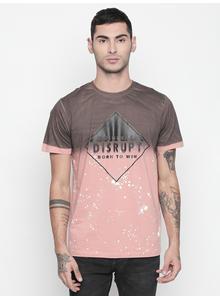 Disrupt Rose Pink Round Neck Half Sleeve T-shirt For Men
