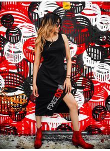 Disrupt Black Sleeveless Dress for Women's