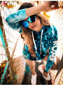 Disrupt Blue faded Hoodie For Women's