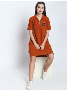 Disrupt Rust Cotton Embroidered Half Sleeve Polo Dress For Women's